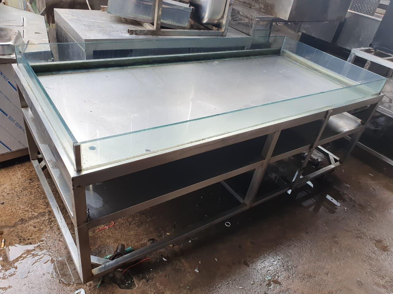Thanh Lý kệ hải sản inox 304 80 x 2m