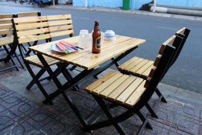 Thanh Lý Bộ bàn ghế xếp khung sắt gỗ thông mới 100%