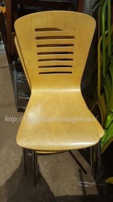 Ghế cafe inox có tựa lưng gỗ thanh lý