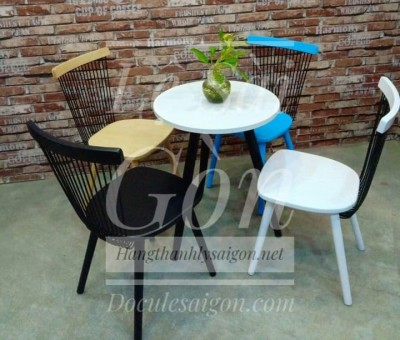 GHẾ Cafe gổ lưng sắt MỚI (Bộ bàn ghế soki)