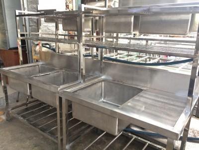 Thanh Lý Bồn rửa công nghiệp 1 2 3 ngăn có kệ